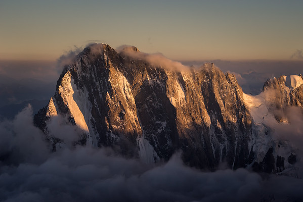 Grandes Jorasses at sunset from the Aiguille Verte summit, Chamonix, France