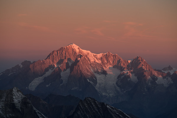 Mont Blanc at sunrise from Gran Paradiso, Italy