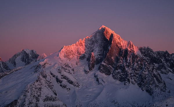 Aiguille Verte and Drus at sunset, Chamonix, France