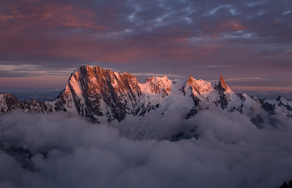 Grandes Jorasses at sunset from the Aiguille Verte