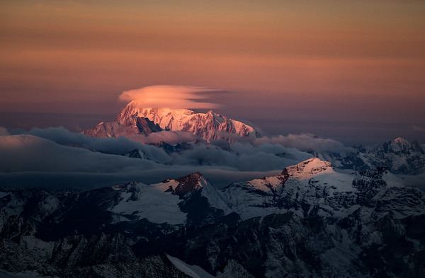 Mont Blanc Massif at sunrise from the Weisshorn