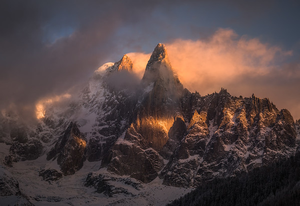 Aiguille Verte (4122m) and Les Drus at sunset, Chamonix