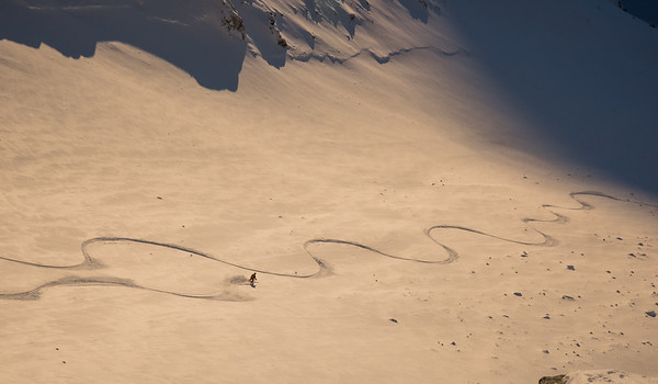 Stuart Johnston on the exit slopes of a new line, East Greenland
