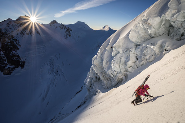 Valentine Fabre at sunrise on the North-East face of Liskamm (4527m) - Neruda Klucker route. Switzerland