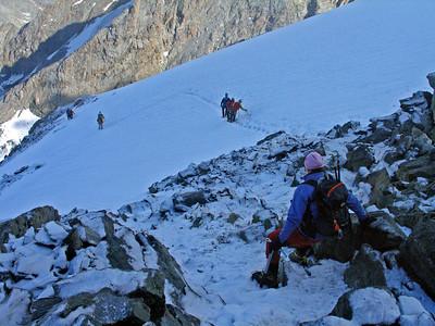 Descending the Lagginhorn.  9.20am, 21/07/10