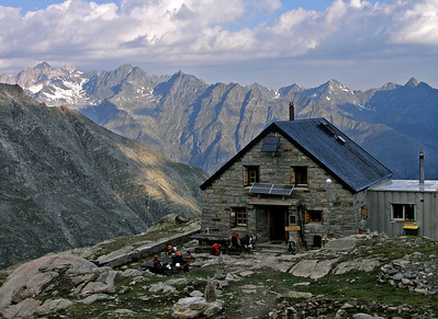 Bordier Hut, with a view across the Rhône valley to the Oberland.  7.40am, 17/07/10