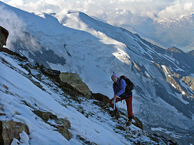 Getting there. c3750m on the Lagginhorn.  Sonya had never been to 4000m before, but she loves a challenge.  8.30am, 21/07/10