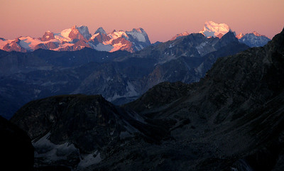 Sunrise on the Écrins, from some way up the Dent Parrachée in the Vanoise.  5.30am, 11 August 2011
