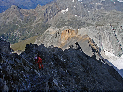 On the shattered west ridge of the Parrachée.  8.30am, 11 August 2011