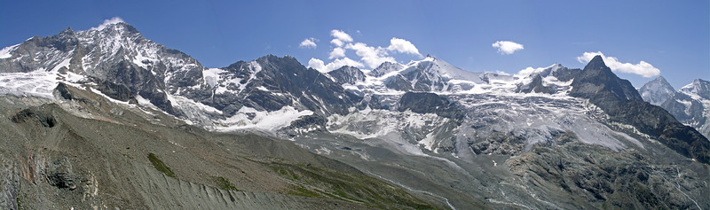 Southward panorama from the Col de Milon.  1.30pm, 27/07/12