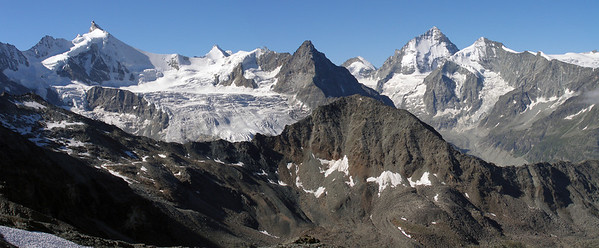Panorama south from 3000m on the Tracuit path.  9.40am, 30/07/12  Prominent peaks are (l-r) Zinalrothorn, Obergabelhorn, Lo Besso, Dent d'Herens, Dent Blanche, Grand Cornier, with Tête de Milon in front of them.