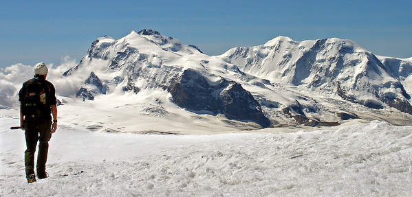 Your correspondent admiring Monte Rosa and the Lyskamm.  11.30am, 08/08/12