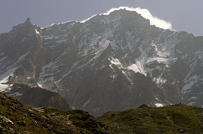 Approaching the d'Ar Pitetta hut, beneath the forbidding west face of the Weisshorn.  11am, 27/07/12