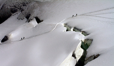 The Allalinhorn track. The snow bridge seems pretty solid . . .   1.10pm, 08/08/12