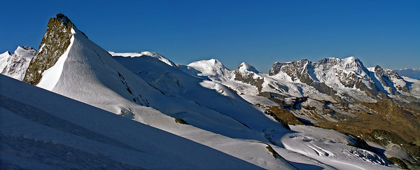 Rimpfischhorn, with Monte Rosa - Breithorn beyond.  8.50am, 07/08/12