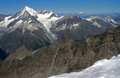 Weisshorn mainly, others are Bishorn, Brunegghorn and the Barrhorner.  11.00am, 08/08/12