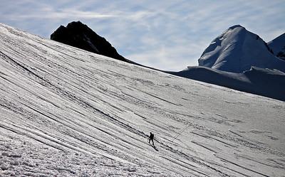 On the Breithorn - Roccia Nera and Pollux.  8.40am, 14/08/12  The going doesn't get any more interesting than this until you reach the summit, but that doesn't take long.