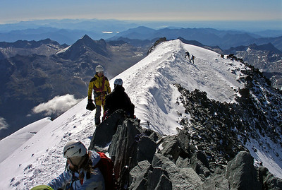 Allalinhorn, 4027m. The summit was not a lonely place.  9.20am, 07/08/12