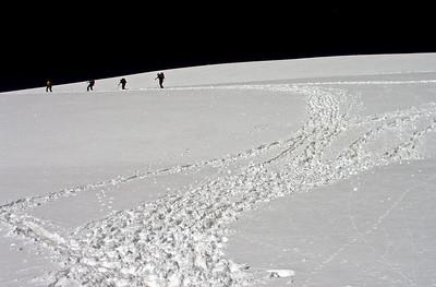 Approaching the summit plateau.  10.45am, 08/08/12