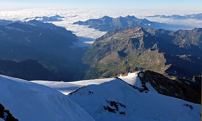 View SW from the summit (4228m).  8.10am,  21/08/13