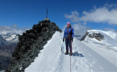 Allalinhorn summit (4027m), after a rather late start.  11.45am, 13/08/13