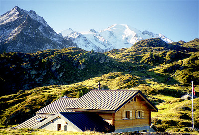 Cabane Marcel Brunet (Commune de Bagnes), 2103m,  Becca de Sery and the Petit Combin.  11am, 20/09/98