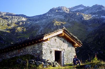 Alp Servay (Commune de Bagnes), 2074m - a Swiss bothy! Mont Rogneux behind.  5pm, 19/09/98