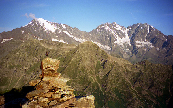 Weissmies and Lagginhorn from the Pizzo Straciugo.<br /> <br /> 7am, 14/8/00