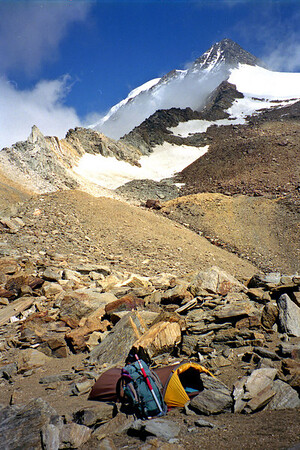 Camp at 10,600' on the Zwischbergenpass.<br /> <br /> 2pm, 12/8/00