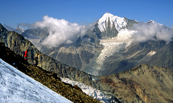 Weisshorn from the Balfrin NNW ridge.<br /> <br /> 2pm, 26/8/03