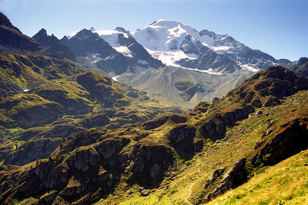 Petit Combin from Alp Sery, Val de Bagnes.<br /> <br /> 2pm, 24/9/99
