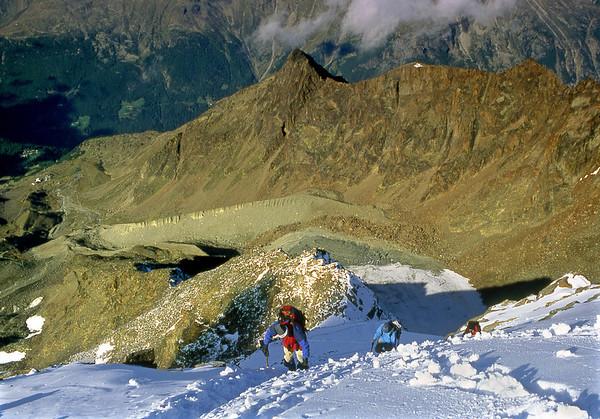 SW ridge of the Lagginhorn.<br /> <br /> 10am, 07/09/02