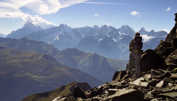 The Swiss side of the Chamonix Alps, from the Col de Lâne.<br /> <br /> 4pm, 24/09/99