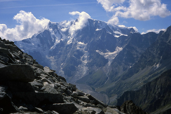The Italian face of Monte Rosa, from the Joderhorn.<br /> <br /> 2pm, 19/08/03