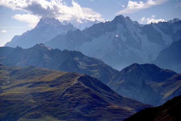 Grandes Jorasses and Mont Dolent from the Col de Lâne (Mont Blanc too, but under cloud).<br /> <br /> 4pm, 24/09/99