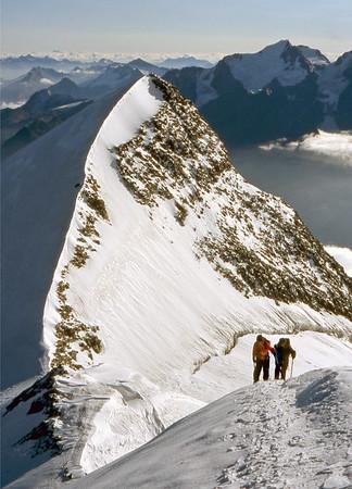Ulrichshorn from 3950m on the NE ridge of the Nadelhorn.<br /> <br /> 9am, 2/9/03