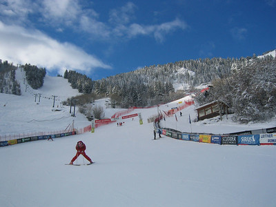 Looking up at the super G finish line.  Croatia's Janica Kostelic reviews the course. (Dec. 9) Nine of nine pictures of the course.