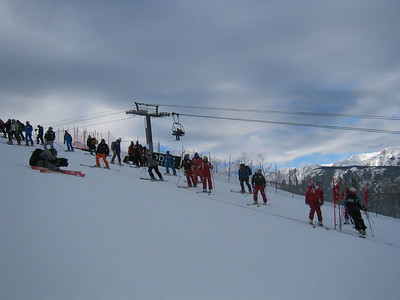 Athletes during super G course inspection (Dec. 9) Three of nine pictures of the course.