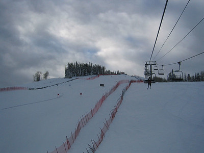 Looking up at the top of the super G course at Aspen (Dec. 9) One of nine pictures of the course.
