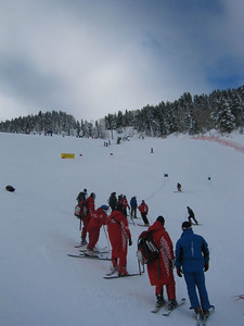 Athletes during super G course inspection (Dec. 9) Five of nine pictures of the course.
