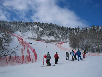 Athletes during super G course inspection (Dec. 9) Eight of nine pictures of the course.
