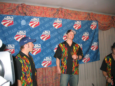 Daron Rahlves and Bode Miller at the team's victory celebration for their downhill podiums  (Dec. 2)