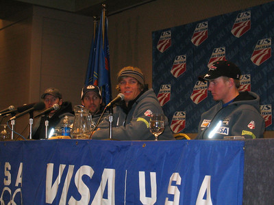 U.S. Ski Team kicks of the Visa Birds of Prey race week with a press conference (l to r) Marco Sullivan, Erik Schlopy, Steve Nyman and Ted Ligety (Nov. 29)