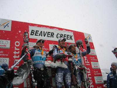 (l to r) Daron Rahlves, Bode Miller and Finland's Kalle Palander on the GS podium (Dec. 3)
