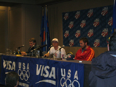 U.S. Ski Team kicks of the Visa Birds of Prey race week with a press conference (l to r) Men's Head Coach Phil McNichol, Daron Rahlves and Bode Miller (Nov. 29)