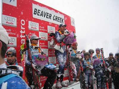 Bode Miller speaks to the remants of 5,000 fans that attended the Birds of Prey GS (Dec. 3)