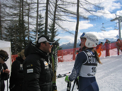 Women's Head Coach Patrick Riml and Julia Mancso share a laugh in the finish area of the Cortina GS (Jan. 29, 2006)
