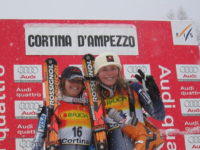 Double podium day for U.S. in Cortina. Julia Mancuso (second place) and Lindsey Kildow (third) smile for the camera's during awards for super G.