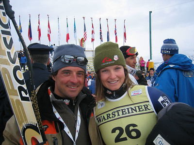 Julia Mancuso poses with her Rossignol wax tech Andrea after her second place finish in the Cortina downhill (Jan. 28, 2006)