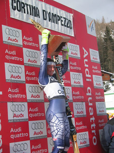 Julia Mancuso accepts the Cortina Trophy for Team USA. The trophy is presented to the team that performs the best over the three-day race weekend. (Jan. 29, 2006)